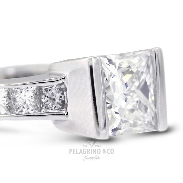 2.80ct K-VS1 Princess Natural Diamonds 14kw Gold Classic Side-Stone Ring 2