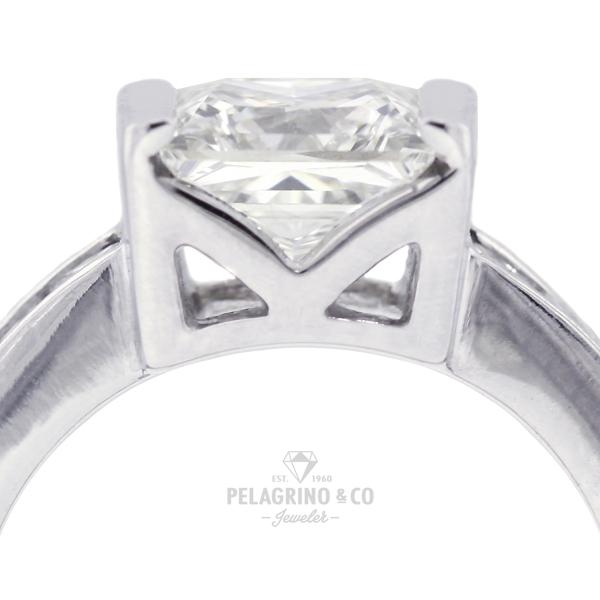 2.80ct K-VS1 Princess Natural Diamonds 14kw Gold Classic Side-Stone Ring 4