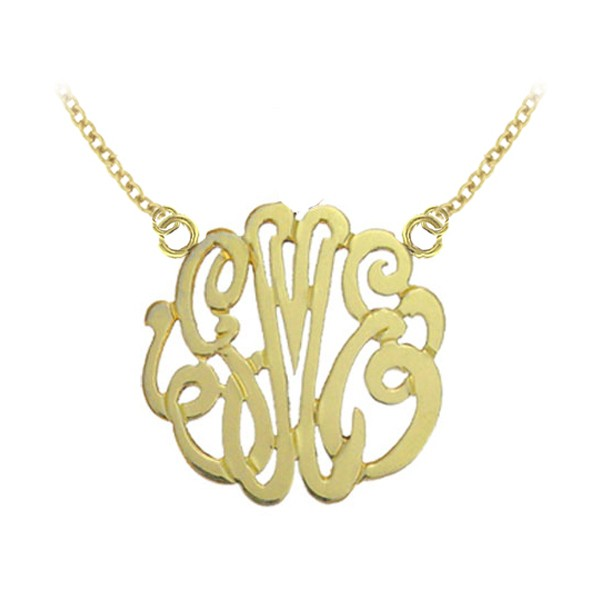 Monogram Pendant Wide Sterling Silver