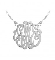 Monogram Pendant Wide Gold Plated Sterling Silver
