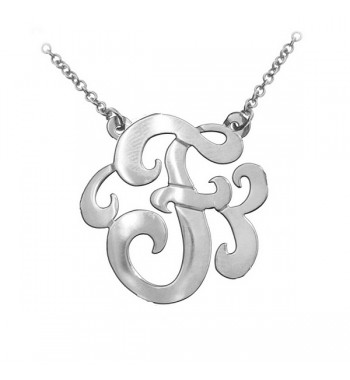 Swirly Initial Sterling Silver