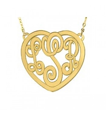 Monogram Heart Gold Plated Sterling Silver