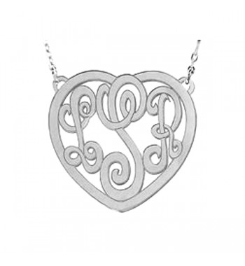 Monogram Heart Sterling Silver