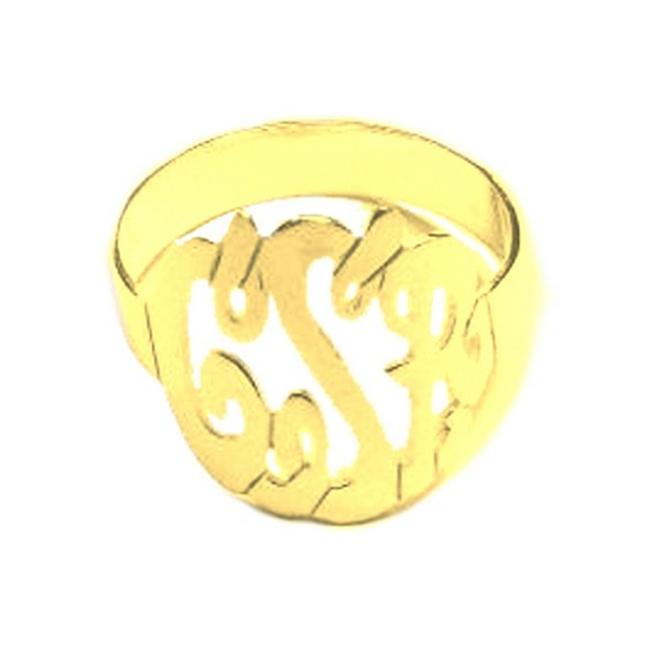 Monogram Ring Gold Plated Sterling Silver