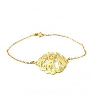 Monogram Gold Plated Sterling Silver Bracelet