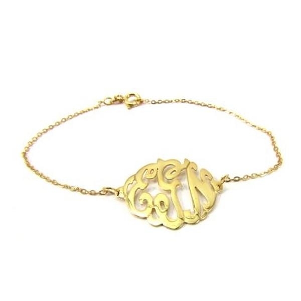 Monogram Gold Plated Sterling Silver Bracelet