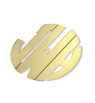 Monogram Bold Wide Gold Plated Sterling Silver