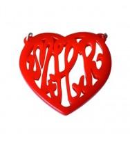 Monogram Acrylic Script Heart