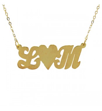 Initials necklace gold dipped siver heart