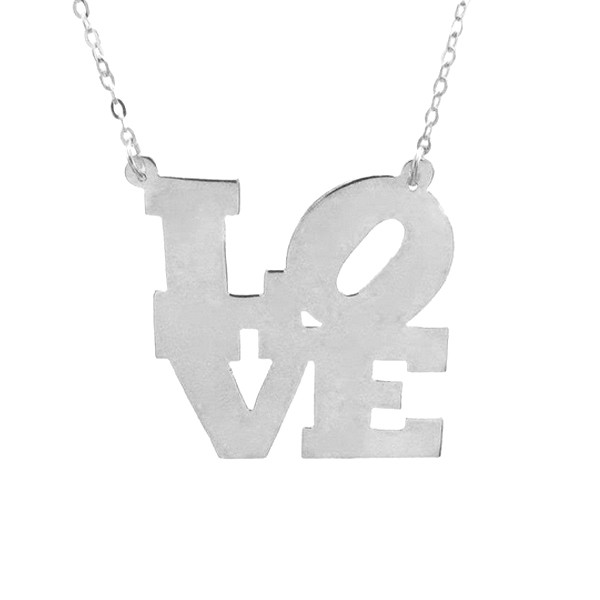 Necklace silver love sign
