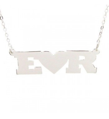Initials necklace sterling silver heart
